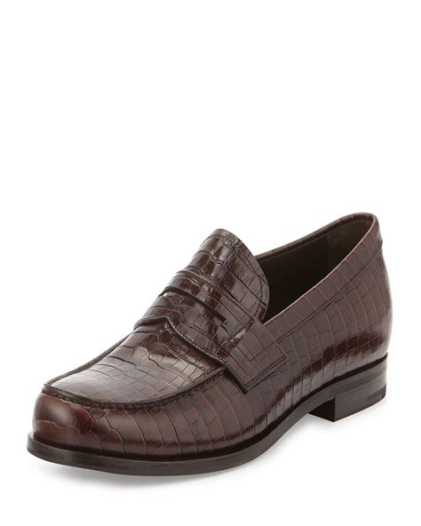 prada loafers lyst prada croc embossed leather loafers in brown
