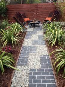 Landscape Edging Using Wood Tetris Inspired Pathway With Grey Brick And Gravel