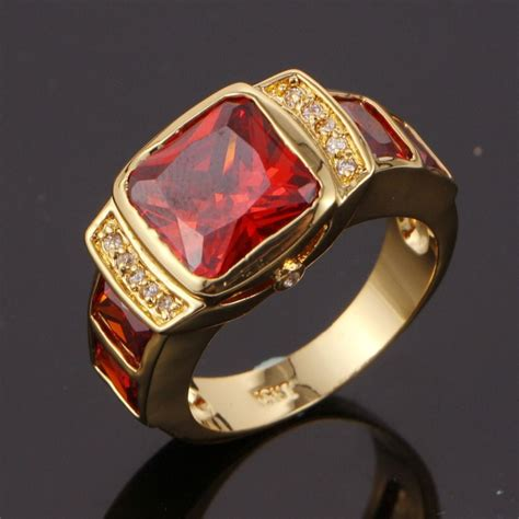 suohuan mens fashion ruby jewelry men rings cz   gold
