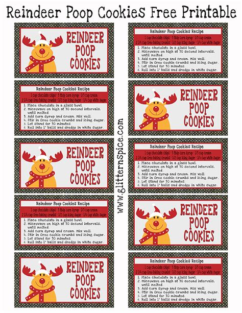 printable reindeer chow gift tag reindeer poop cookies recipe and free printable glitter