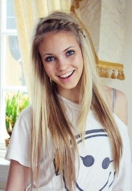 Cute school hairstyle long hair with braid bangs