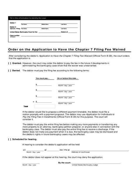 How To Get Mba Application Fees Waived by Application To The Chapter 7 Filing Fee Waived U S