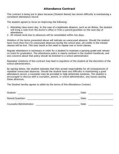 Sle Contract Templates Hloom Com Student Attendance Contract Template