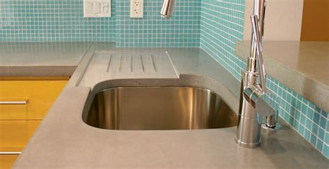 Concrete Countertop with Integral Drainboard by Dale
