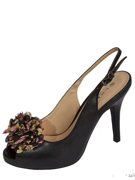 slingback high heels black slingback high heels peep toe rosette lunar