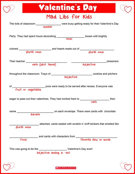 valentines day adjectives s day mad libs activity for parents
