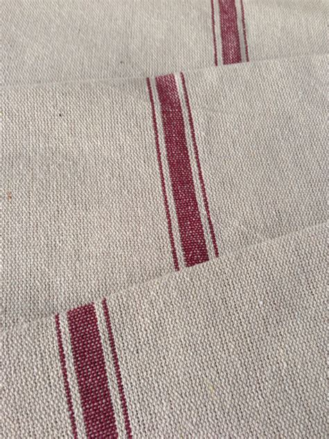 grain sack upholstery fabric grain sack fabric red stripe vintage inspired sold by the yard