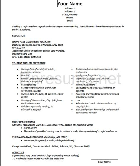 Nursing Resume Templates For New Graduates Rn Resume Bag The Web