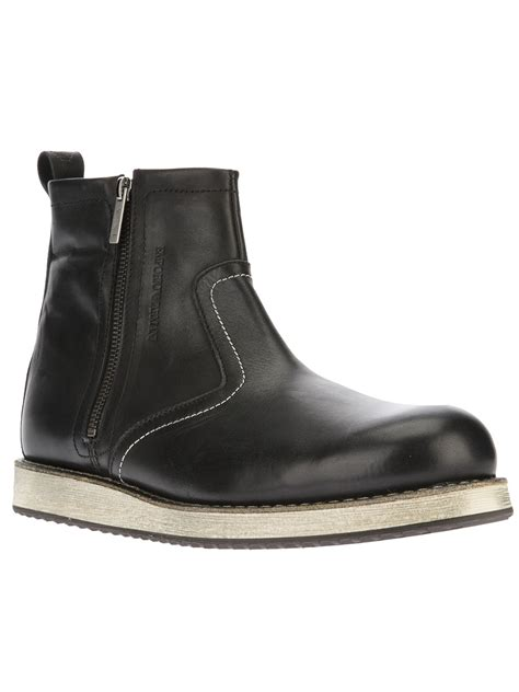 mens side zip boot emporio armani side zip boot in black for lyst