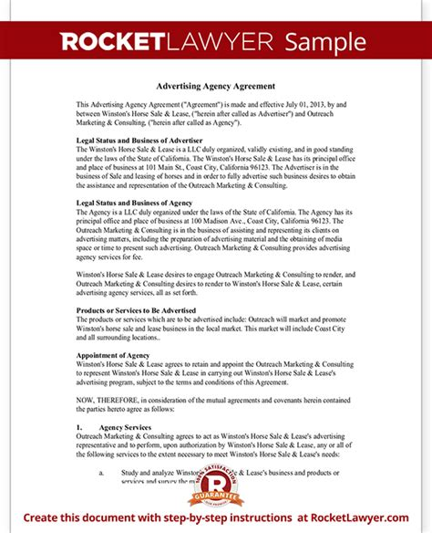 Advertising Agency Contract Template advertising agency agreement contract sle template