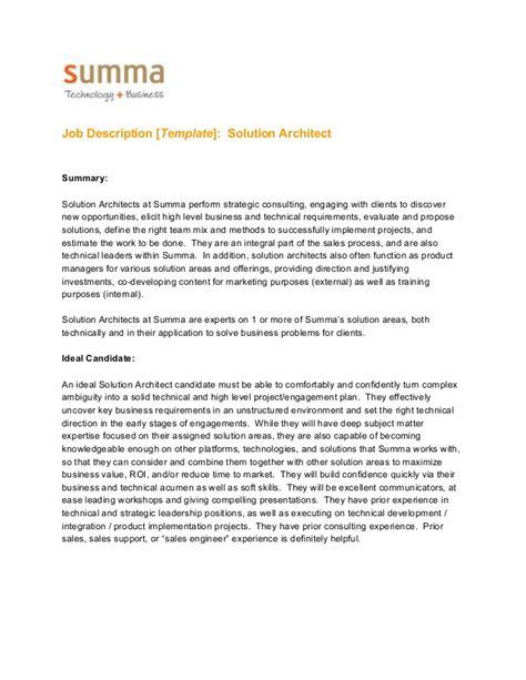 templates powerpoint job descriptions job description template solution architect