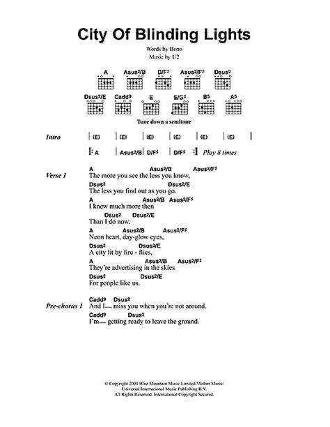 City Lights Songs by City Of Blinding Lights Sheet By U2 Lyrics Chords 48888