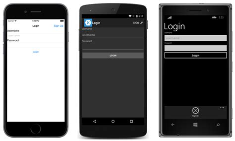 Xamarin Login Template Xamarin Android How Can I Create A Login Page In Xamarin Forms Stack Overflow