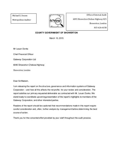 Transmittal Letter For transmittal letter