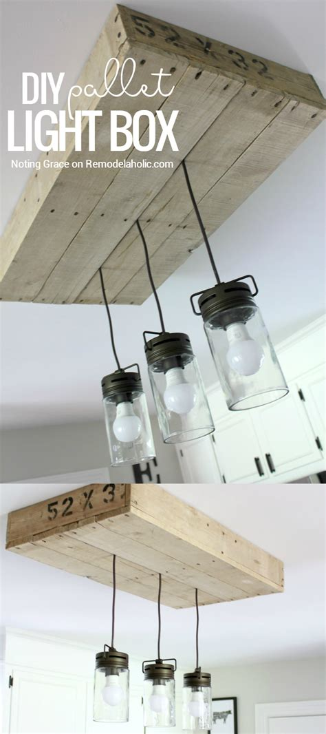 diy kitchen light fixtures how to make a pallet wood light box rustic style