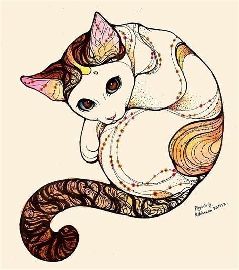 tattoo cat drawing kitten animal art weird pinterest