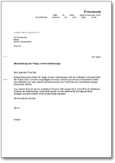 Anschreiben Adrebe Ansprechpartner Beanstandung Der Gartenpflege De Musterbrief
