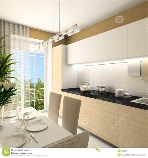 modern kitchen interior 3d rendering 3d render modern interior of kitchen stock image image