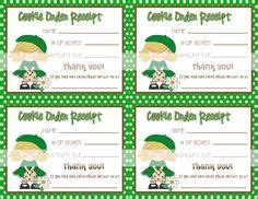 scout cookie sales receipt template scout cookie thank you printable cards idea