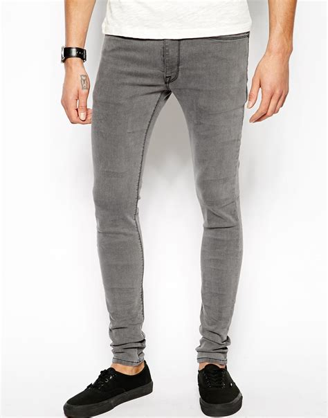 light gray jeans mens asos extreme super skinny jeans in light grey in gray for