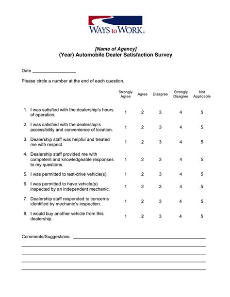 customer satisfaction survey template in word and pdf formats