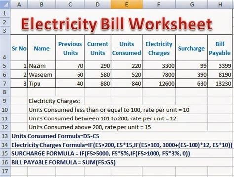 calculate electricity bill electricity bill calculator formulas in excel perfect computer notes