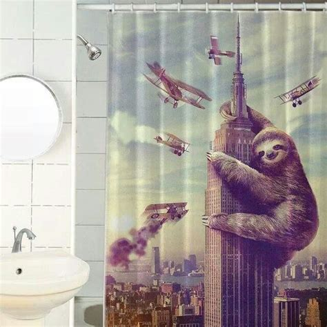 sloth shower curtain sloth shower curtain out of the ordinary pinterest