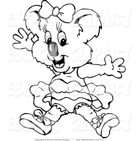 koala ballet coloring pages koala clip art black and white
