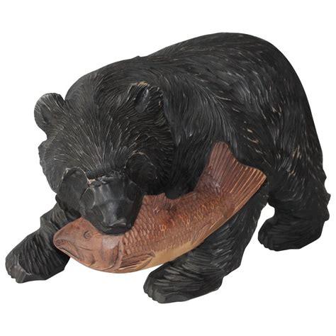 large rustic black bear on wood hand painted by large hand carved and painted wood black bear sculpture