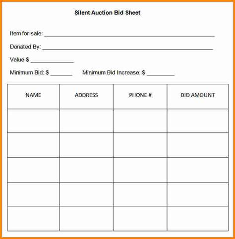 Auction Bid Sheet Template by 7 Silent Auction Template Cashier Resume