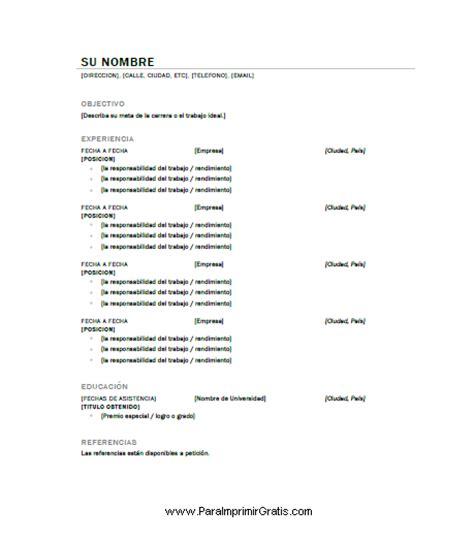 Plantillas De Curriculum Vitae Para Completar Modelos Curriculum Vitae Gratis Para Completar