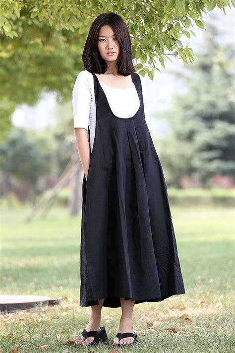 Plain Pinafore Midi Dress black pinafore dress fitting cool black by
