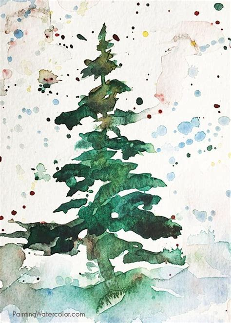 christmas card tree watercolor painting tutorial art