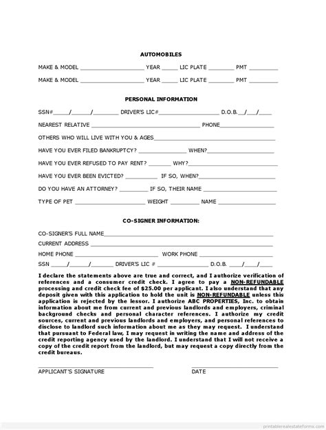 owner financing contract template free rental owner finance application form printable