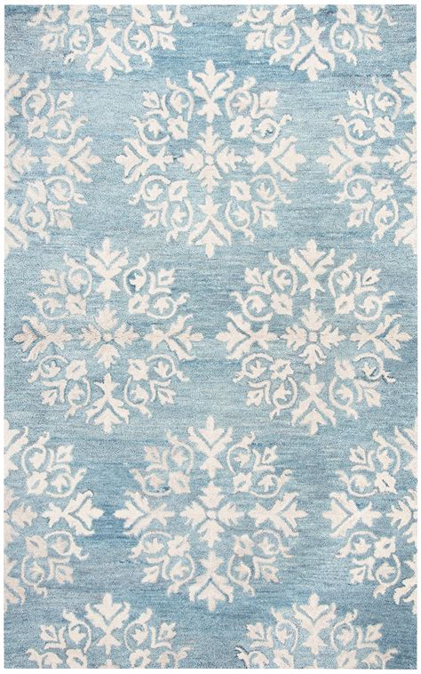 Leons Area Rugs Floral Motif Medallion Wool Area Rug In Aqua Blue Ivory 8 X 10