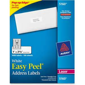 Template 5160 Avery Labels by Avery 5160 Easy Peel White Laser Mailing Labels Permanent