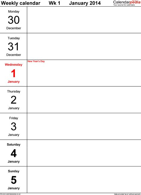 free printable calendar template 2014 8 best images of printable weekly planner template 2014