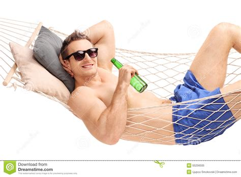 A Relaxed relaxed lying in a hammock and a stock