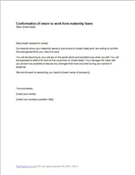 returning to work after maternity leave cover letter maternity leave return letter template exle