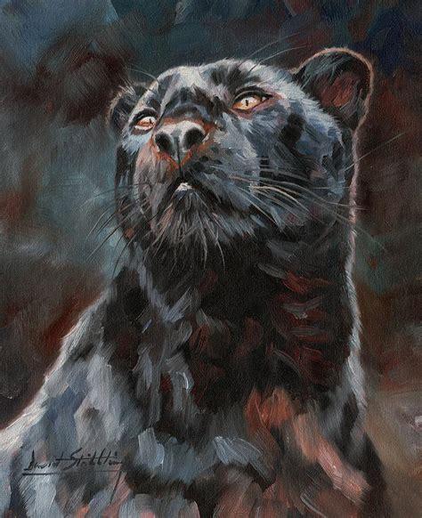 Black Leopard black leopard painting by david stribbling