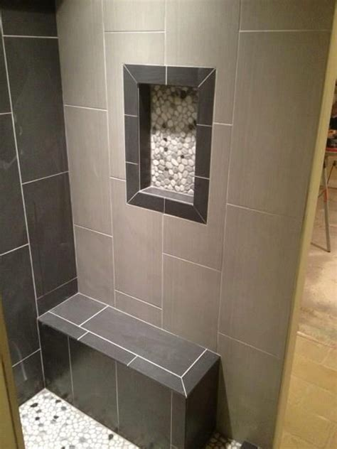 12x24 tile in a small bathroom 12x24 neos tile shower niche w pebble rock shower