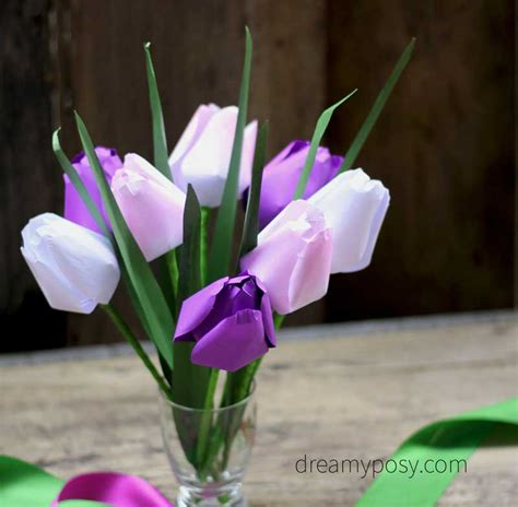 paper flower tutorial tulips how to make paper tulip from printer paper free template