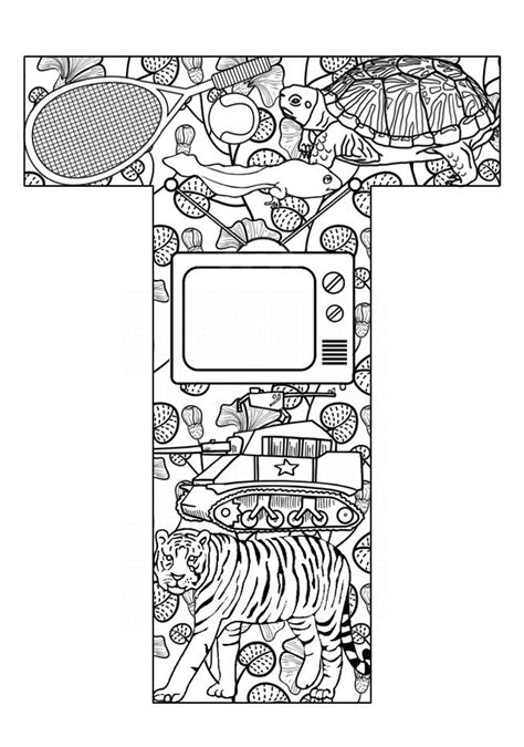 Letter T Coloring Pages For Adults by 100 Best Alphabet Coloring Images On Coloring