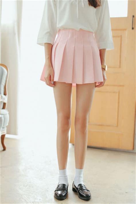 Pleated Plain Mini Skirt plain zip back pleated a line mini skirt beautifulhalo