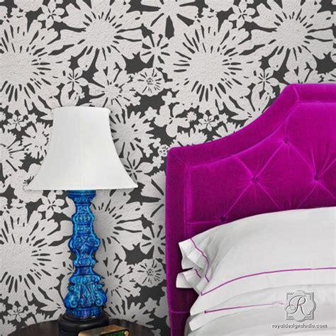 modern floral wall stencils painting diy flower
