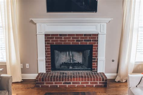 cleaning fireplace bricks indoors modern white brick fireplace walnut mantel diy the