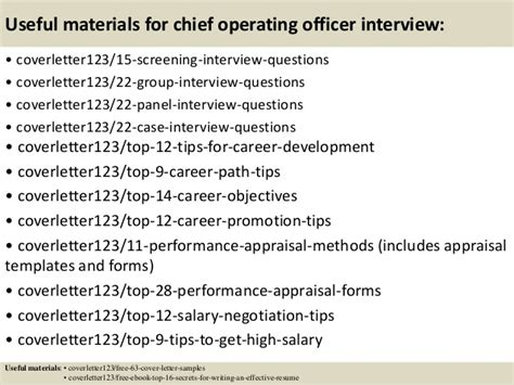 Chief Operating Officer Cover Letter by Top 5 Chief Operating Officer Cover Letter Sles