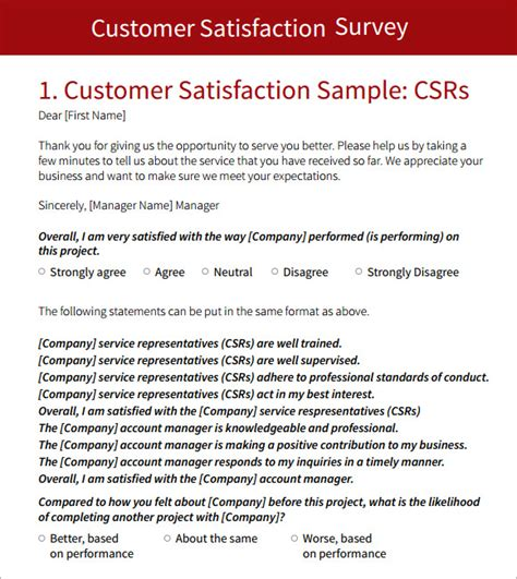 customer survey template 5 free documents in pdf