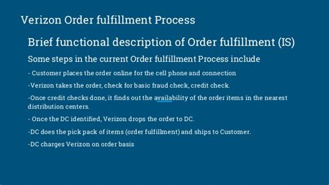 Verizon Background Check Process Verizon Order Fulfillment Process Supply Chain Workflow Design Proje