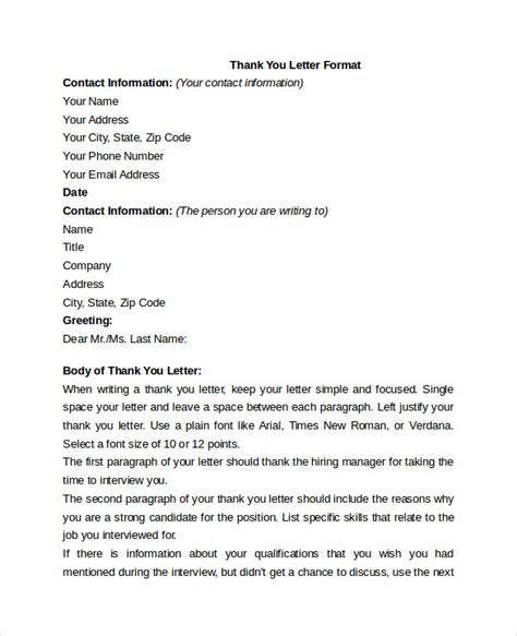 Thank You Letter Format Pdf Thank You Letters Format 7 Free Documents In Pdf Word